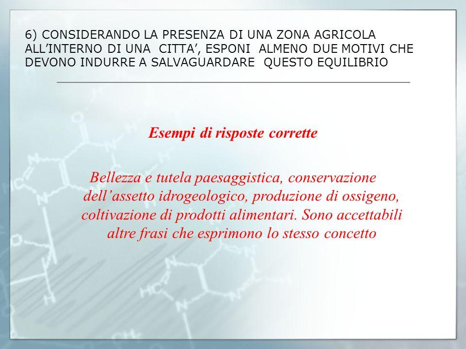 6) CONSIDERANDO LA PRESENZA DI UNA ZONA AGRICOLA ALLINTERNO DI UNA CITTA, ESPONI ALMENO DUE MOTIVI CHE DEVONO INDURRE A SALVAGUARDARE QUESTO EQUILIBRI