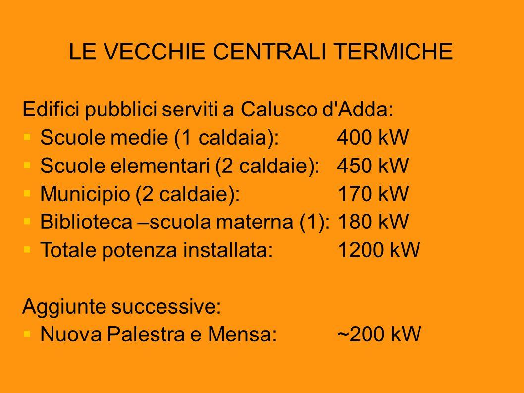 LE VECCHIE CENTRALI TERMICHE Edifici pubblici serviti a Calusco d'Adda: Scuole medie (1 caldaia):400 kW Scuole elementari (2 caldaie):450 kW Municipio