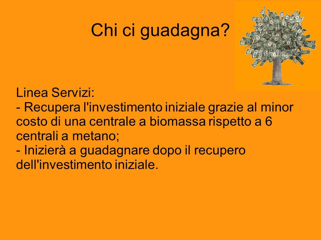 Chi ci guadagna? Linea Servizi: - Recupera l'investimento iniziale grazie al minor costo di una centrale a biomassa rispetto a 6 centrali a metano; -