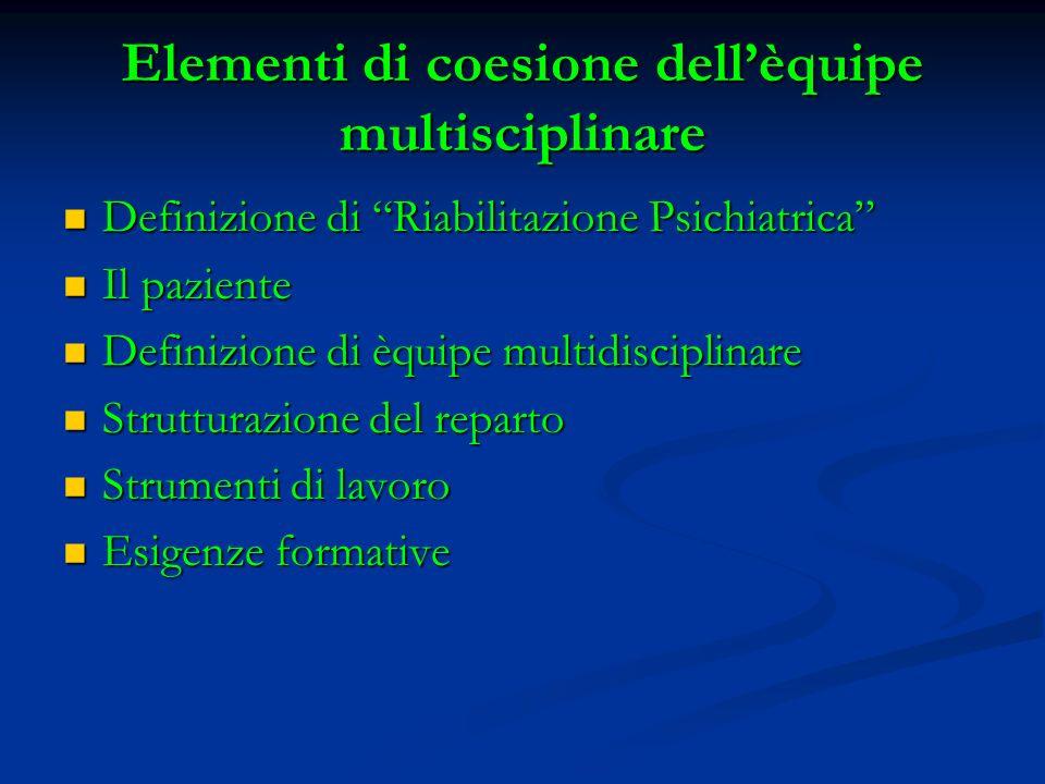 Elementi di coesione dellèquipe multisciplinare Definizione di Riabilitazione Psichiatrica Definizione di Riabilitazione Psichiatrica Il paziente Il p