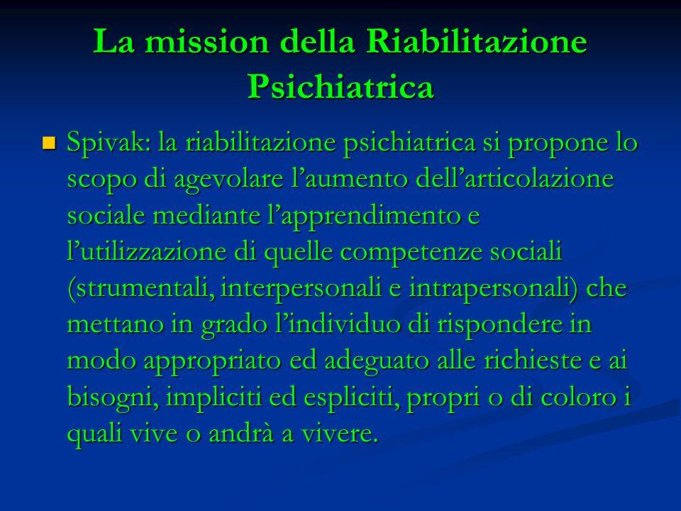 La mission della Riabilitazione Psichiatrica Spivak: la riabilitazione psichiatrica si propone lo scopo di agevolare laumento dellarticolazione social