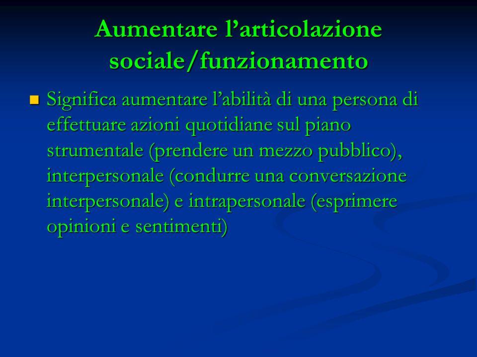 Aumentare larticolazione sociale/funzionamento Significa aumentare labilità di una persona di effettuare azioni quotidiane sul piano strumentale (pren
