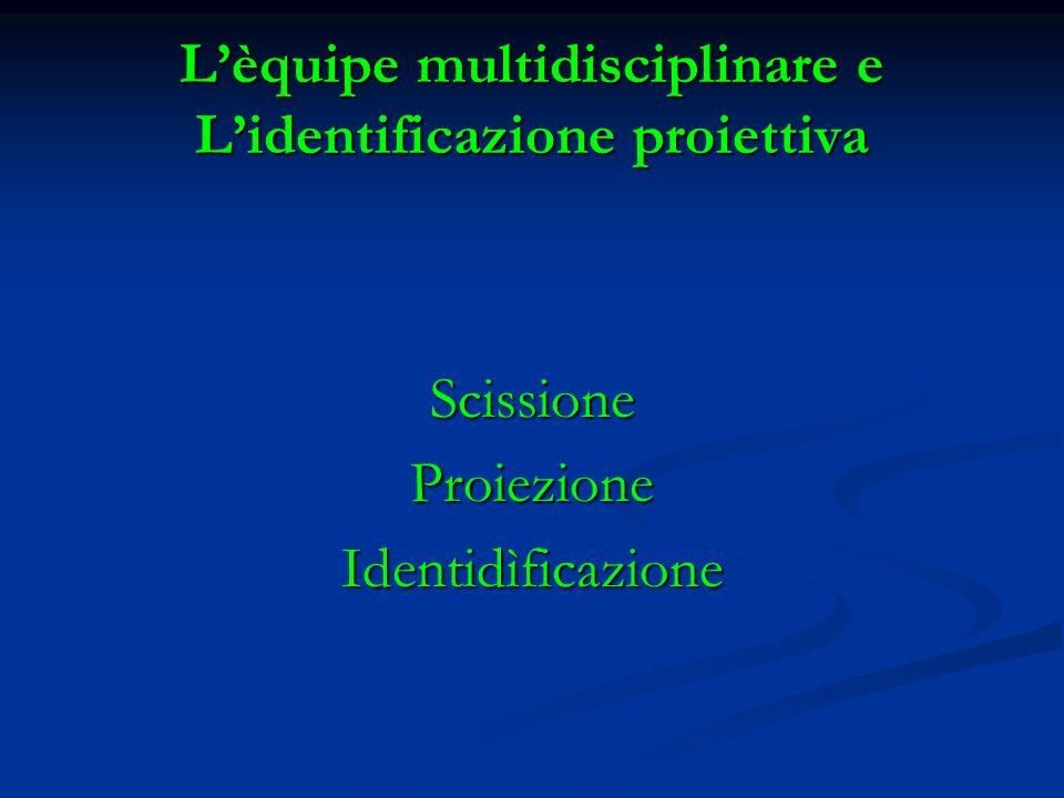 Lèquipe multidisciplinare e Lidentificazione proiettiva ScissioneProiezioneIdentidìficazione