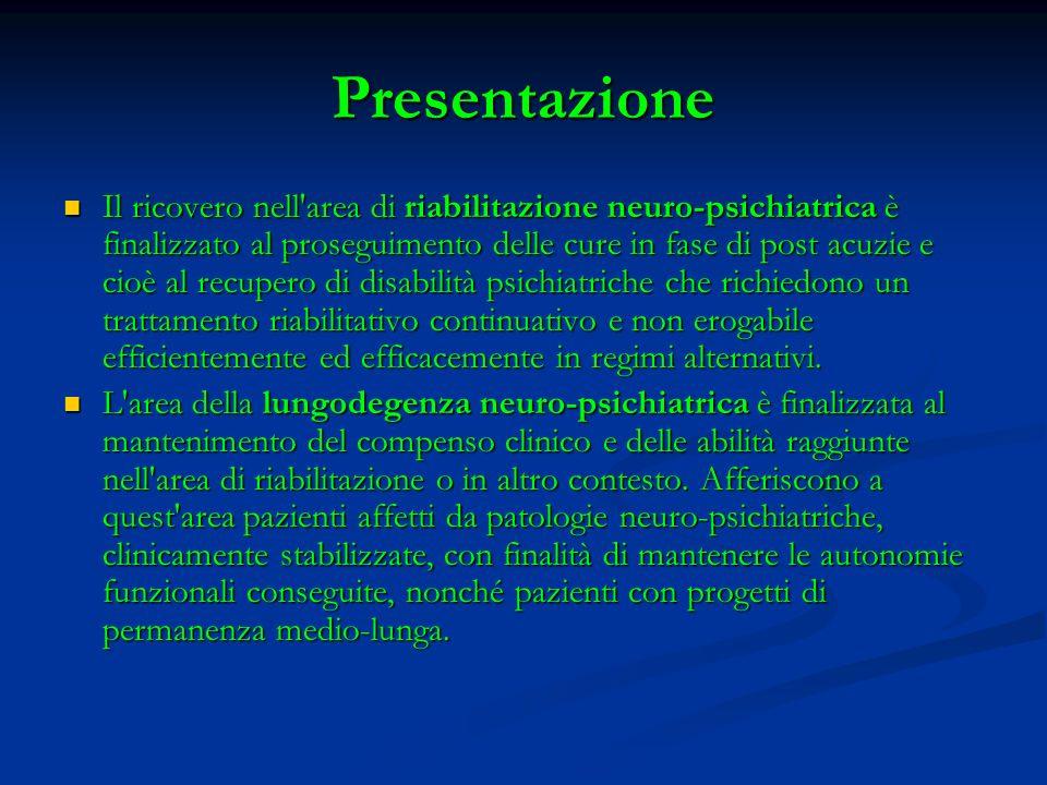 Presentazione Il ricovero nell'area di riabilitazione neuro-psichiatrica è finalizzato al proseguimento delle cure in fase di post acuzie e cioè al re
