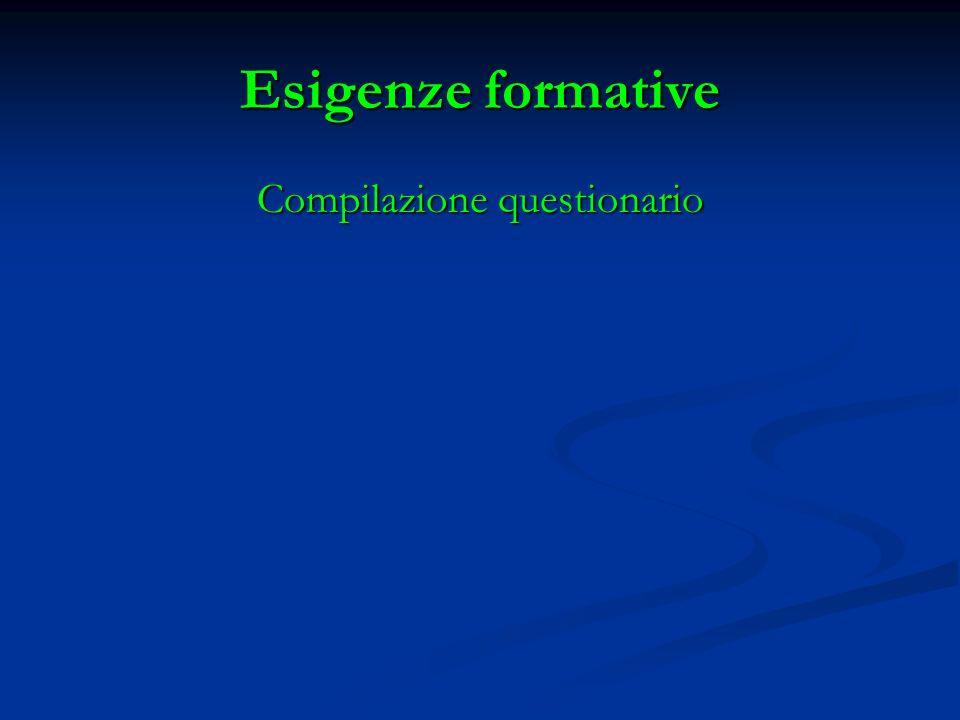Esigenze formative Compilazione questionario