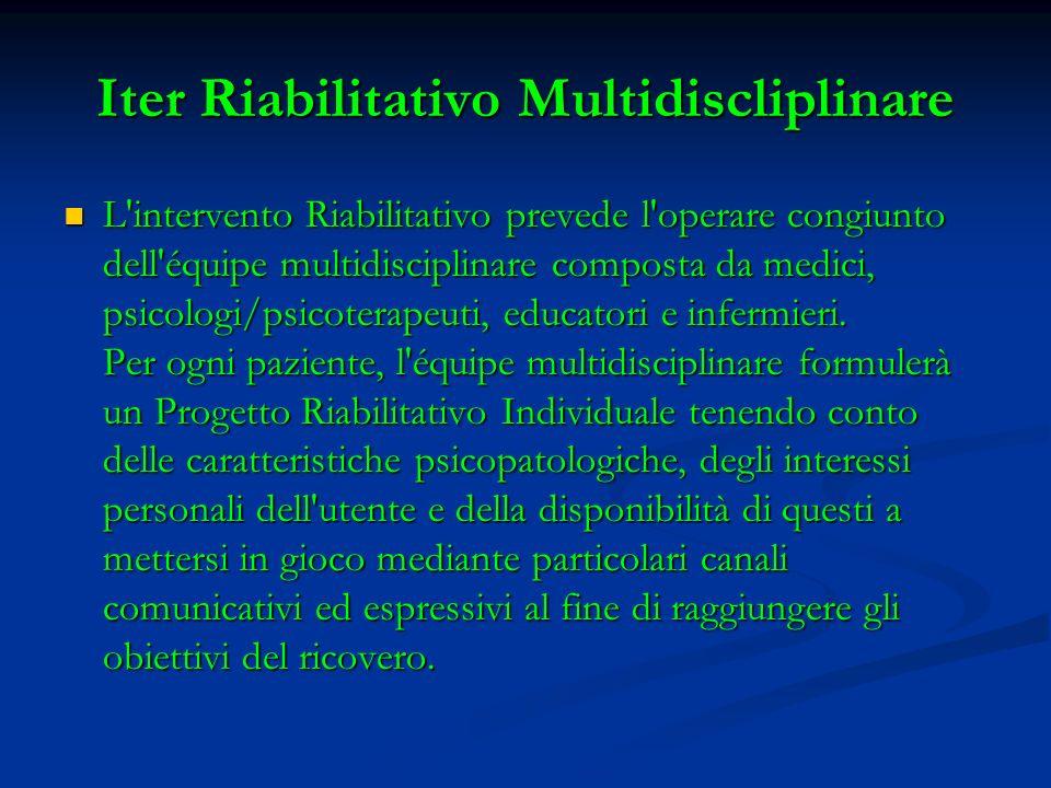 Iter Riabilitativo Multidiscliplinare L'intervento Riabilitativo prevede l'operare congiunto dell'équipe multidisciplinare composta da medici, psicolo
