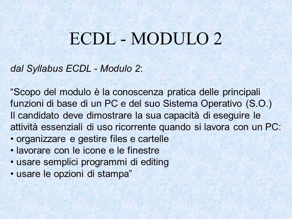 ECDL - MODULO 2 dal Syllabus ECDL - Modulo 2: Scopo del modulo è la conoscenza pratica delle principali funzioni di base di un PC e del suo Sistema Op