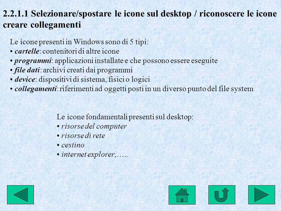 2.2.1.1 Selezionare/spostare le icone sul desktop / riconoscere le icone creare collegamenti Le icone presenti in Windows sono di 5 tipi: cartelle: co