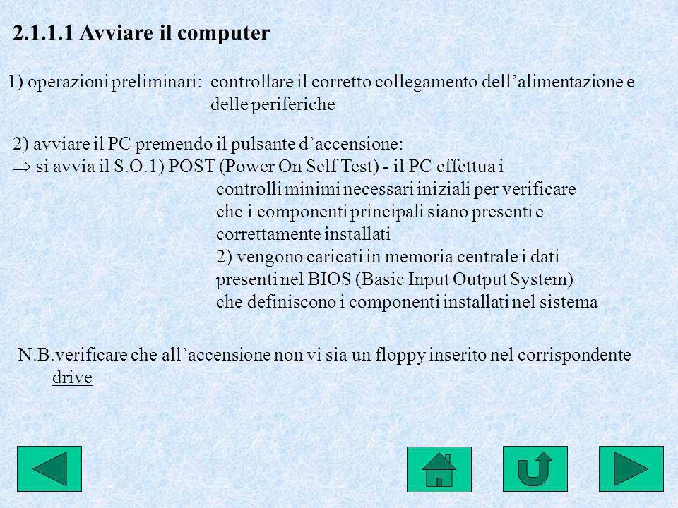 2.3.2.3 Fare copie di backup su dischetto Per evitare la perdita di dati memorizzati esclusivamente sul disco fisso (HD) è bene fare copie periodiche su supporti di memoria esterni: start programmi accessori utilità di sistema backup seguire la procedura guidata 2.3.2.5 Cancellare file - 2.3.2.6 Cancellare cartelle Selezionare il file o la cartella da cancellare, poi 1) clic destro elimina 2) menù file elimina 3) trascinare il file/la cartella sul cestino 4) premere il tasto CANC Per cancellare definitivamente il file: SHIFT+CANC Per recuperare un file dal cestino: aprire il cestino clic destro sul file ripristina Per configurare il cestino: clic destro proprietà eliminazione diretta dimensioni cestino