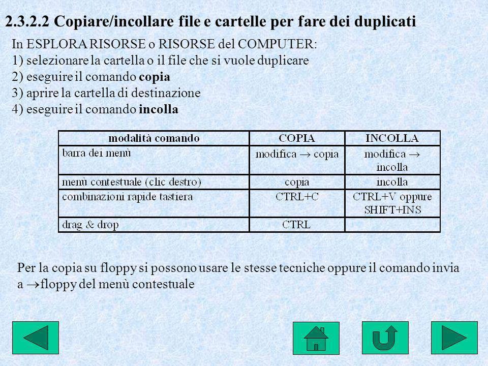 2.3.2.2 Copiare/incollare file e cartelle per fare dei duplicati In ESPLORA RISORSE o RISORSE del COMPUTER: 1) selezionare la cartella o il file che s