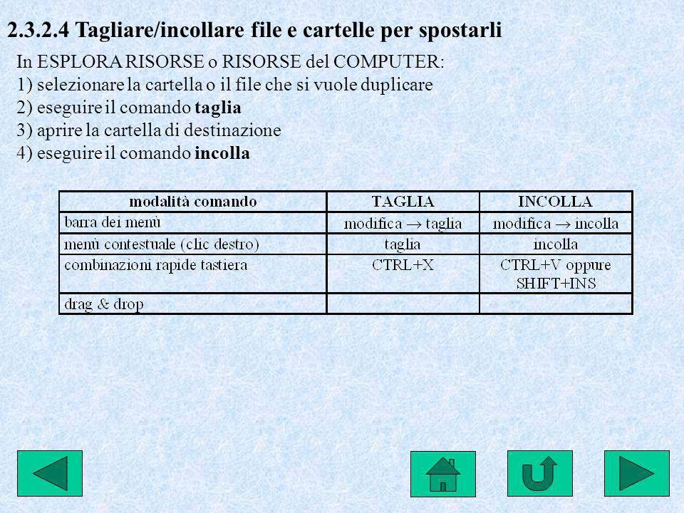 2.3.2.4 Tagliare/incollare file e cartelle per spostarli In ESPLORA RISORSE o RISORSE del COMPUTER: 1) selezionare la cartella o il file che si vuole