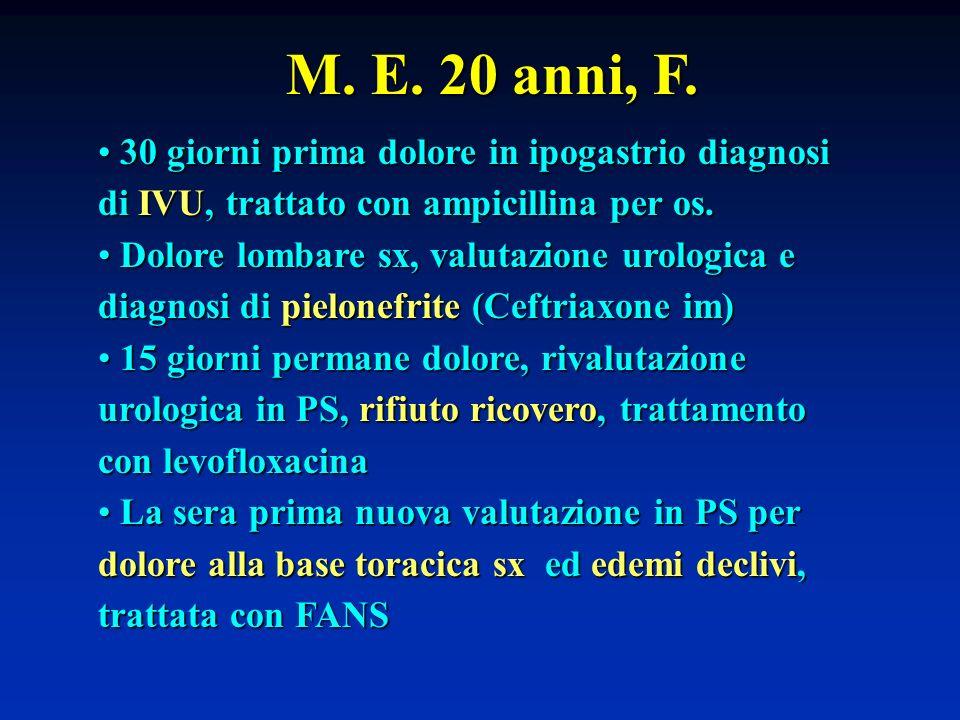 M. E. 20 anni, F. 30 giorni prima dolore in ipogastrio diagnosi di IVU, trattato con ampicillina per os. 30 giorni prima dolore in ipogastrio diagnosi