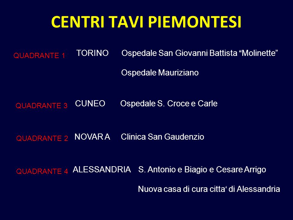 CENTRI TAVI PIEMONTESI TORINO Ospedale San Giovanni Battista Molinette Ospedale Mauriziano QUADRANTE 1 CUNEO Ospedale S.