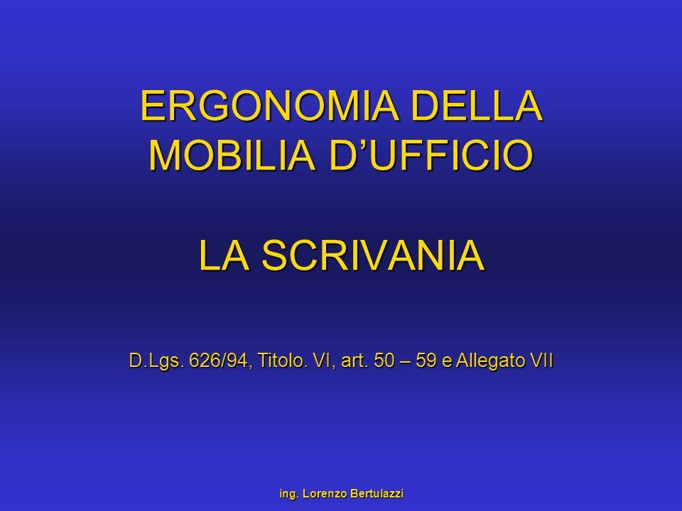 ERGONOMIA DELLA MOBILIA DUFFICIO LA SCRIVANIA ing. Lorenzo Bertulazzi D.Lgs. 626/94, Titolo. VI, art. 50 – 59 e Allegato VII