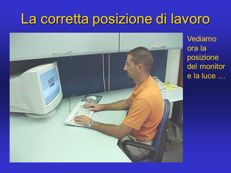 La corretta posizione di lavoro Vediamo ora la posizione del monitor e la luce …