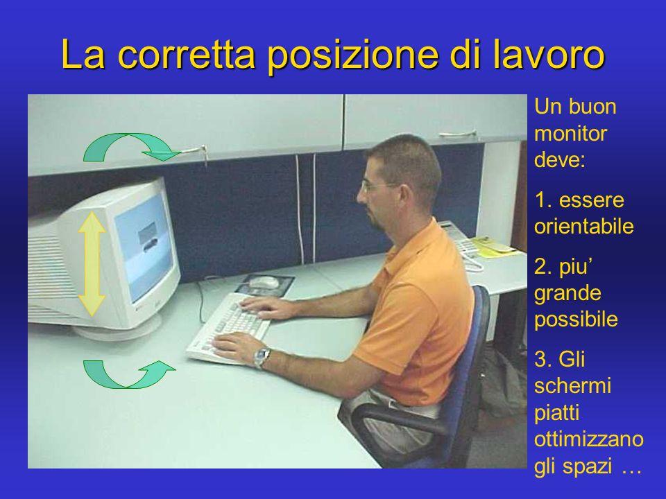 La corretta posizione di lavoro Un buon monitor deve: 1. essere orientabile 2. piu grande possibile 3. Gli schermi piatti ottimizzano gli spazi …