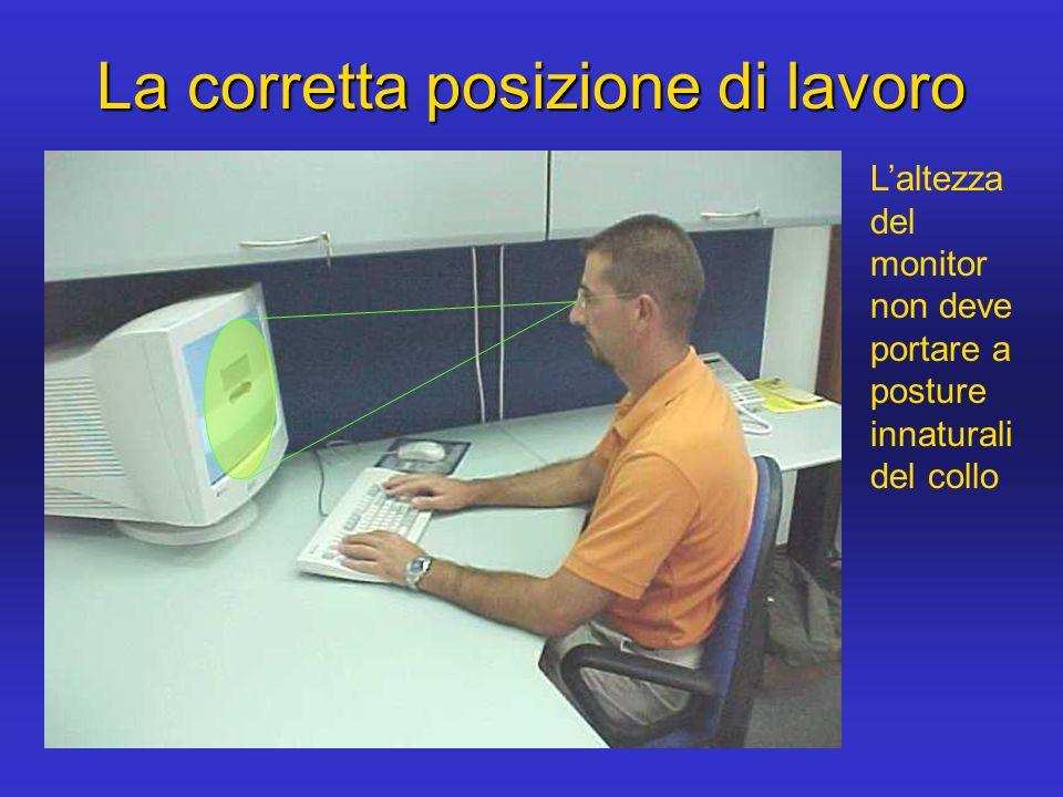 La corretta posizione di lavoro Laltezza del monitor non deve portare a posture innaturali del collo