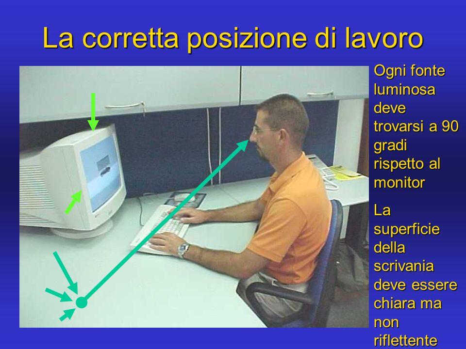 La corretta posizione di lavoro Ogni fonte luminosa deve trovarsi a 90 gradi rispetto al monitor La superficie della scrivania deve essere chiara ma n