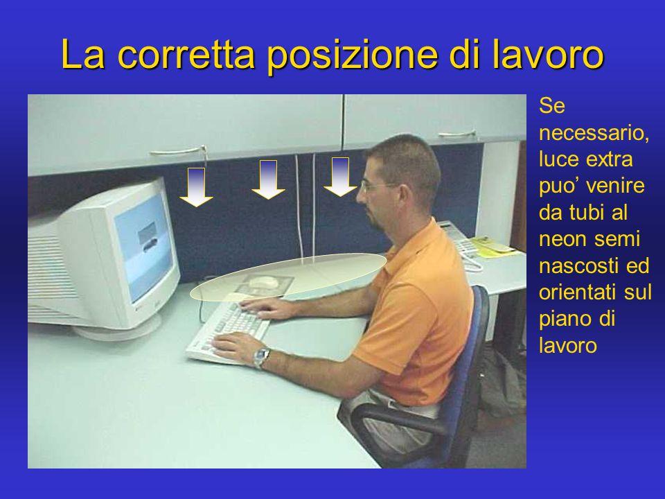 La corretta posizione di lavoro Se necessario, luce extra puo venire da tubi al neon semi nascosti ed orientati sul piano di lavoro