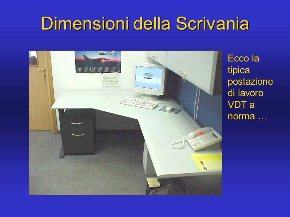 Gli elementi salienti sono: La distanza piu importante e evidenziata in rosso … spazio per le gambe spazio per i documenti spazio per attivita varie Dimensioni della Scrivania