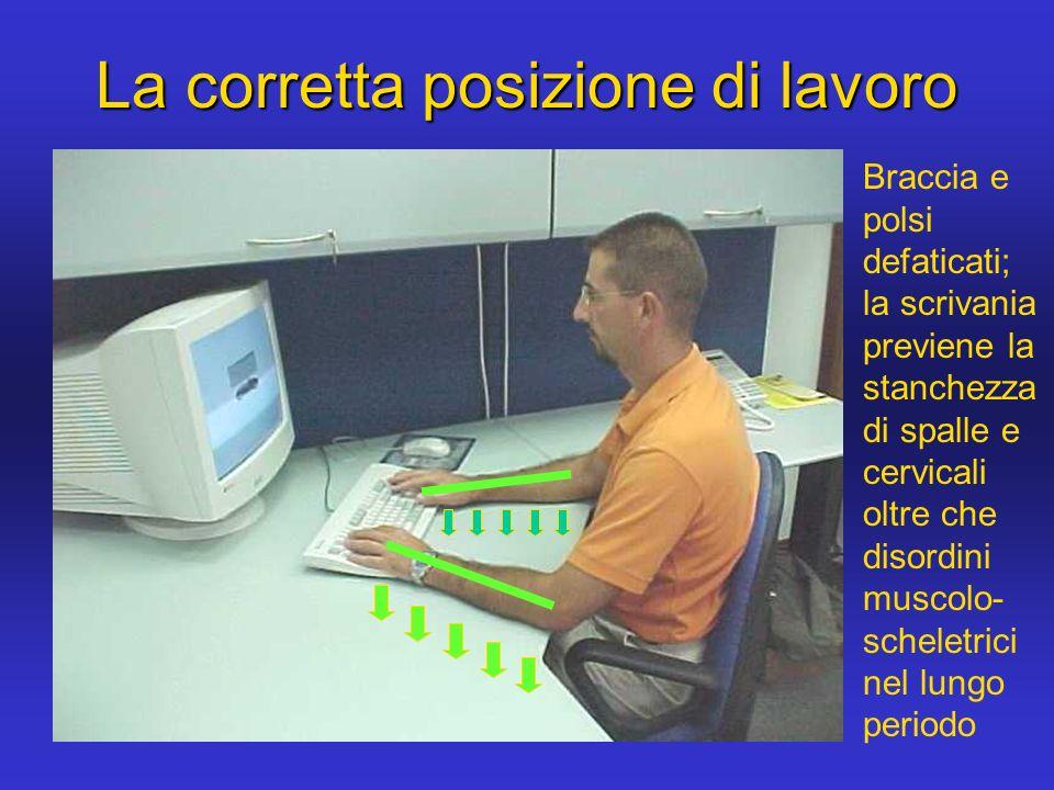 La corretta posizione di lavoro Braccia e polsi defaticati; la scrivania previene la stanchezza di spalle e cervicali oltre che disordini muscolo- sch