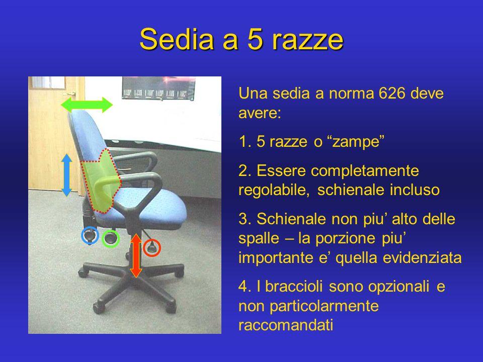 Una sedia a norma 626 deve avere: 1. 5 razze o zampe 2. Essere completamente regolabile, schienale incluso 3. Schienale non piu alto delle spalle – la