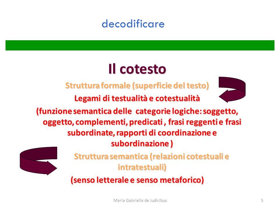 5 decodificare Il cotesto Struttura formale (superficie del testo) Legami di testualità e cotestualità (funzione semantica delle categorie logiche: so