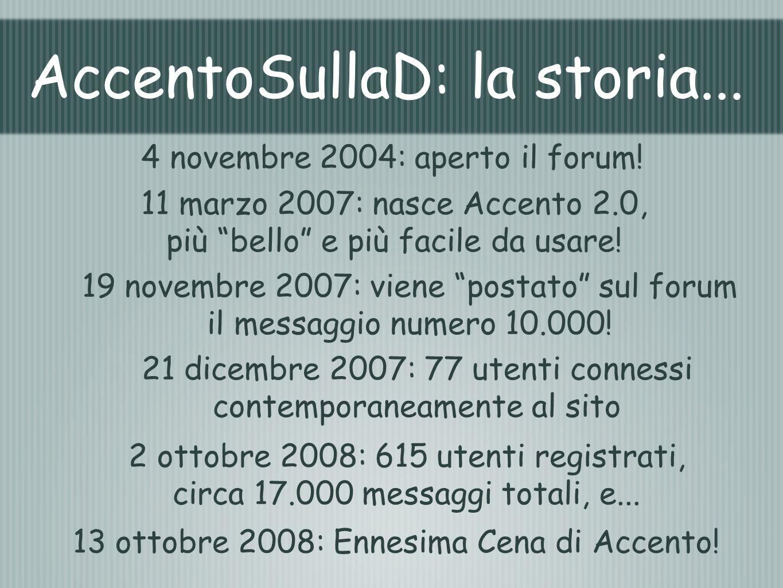 AccentoSullaD: la storia... 4 novembre 2004: aperto il forum! 19 novembre 2007: viene postato sul forum il messaggio numero 10.000! 21 dicembre 2007: