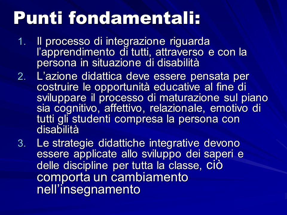 Punti fondamentali: 1. Il processo di integrazione riguarda lapprendimento di tutti, attraverso e con la persona in situazione di disabilità 2. Lazion