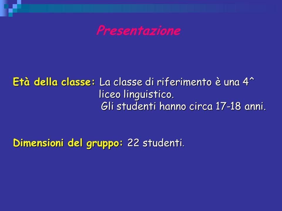 Presentazione Età della classe: La classe di riferimento è una 4^ liceo linguistico. Gli studenti hanno circa 17-18 anni. Gli studenti hanno circa 17-