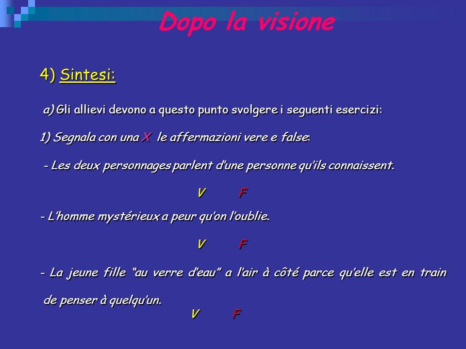 Dopo la visione 4) Sintesi: a) Gli allievi devono a questo punto svolgere i seguenti esercizi: a) Gli allievi devono a questo punto svolgere i seguent
