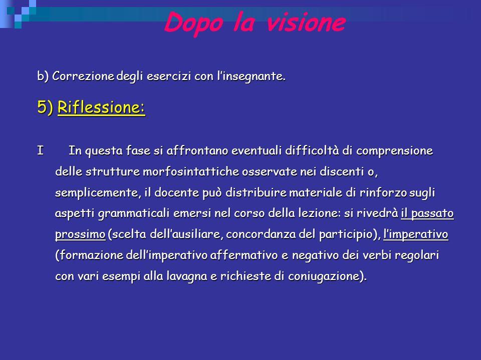 Dopo la visione b) Correzione degli esercizi con linsegnante. 5) Riflessione: I In questa fase si affrontano eventuali difficoltà di comprensione dell