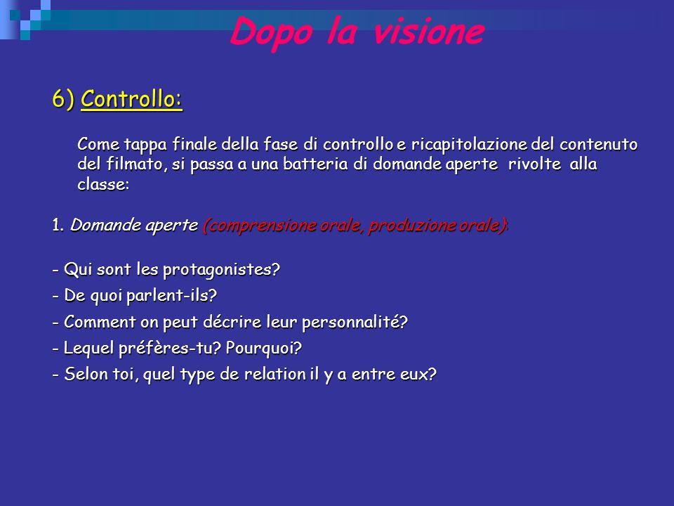 Dopo la visione 6) Controllo: Come tappa finale della fase di controllo e ricapitolazione del contenuto del filmato, si passa a una batteria di domand