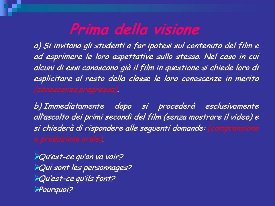 Prima della visione a) Si invitano gli studenti a far ipotesi sul contenuto del film e ad esprimere le loro aspettative sullo stesso. Nel caso in cui