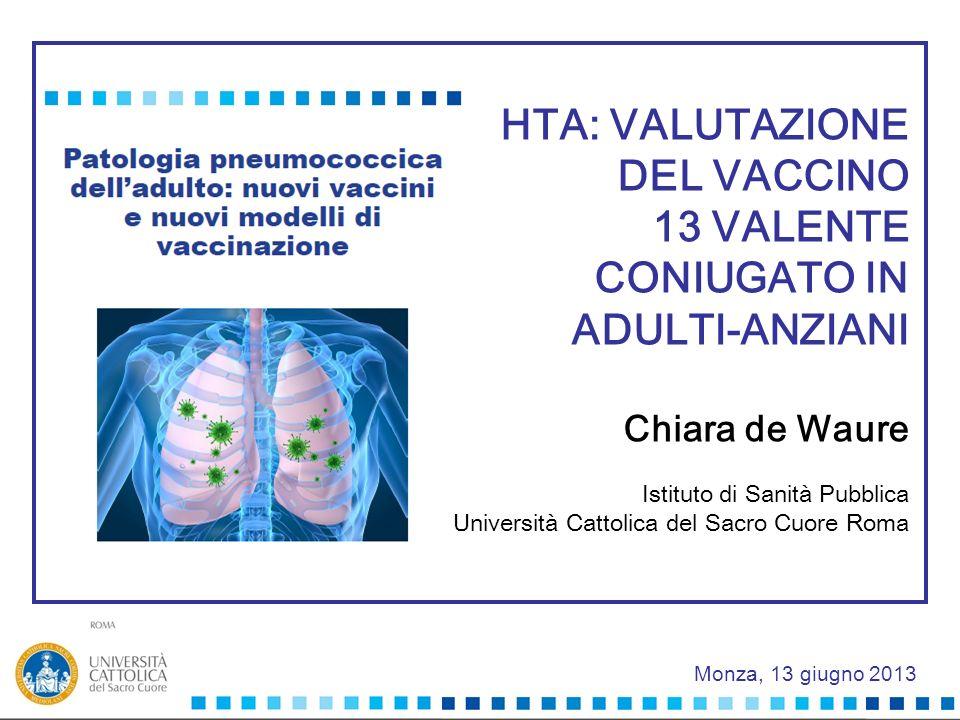 Monza, 13 giugno 2013 HTA: VALUTAZIONE DEL VACCINO 13 VALENTE CONIUGATO IN ADULTI-ANZIANI Chiara de Waure Istituto di Sanità Pubblica Università Catto