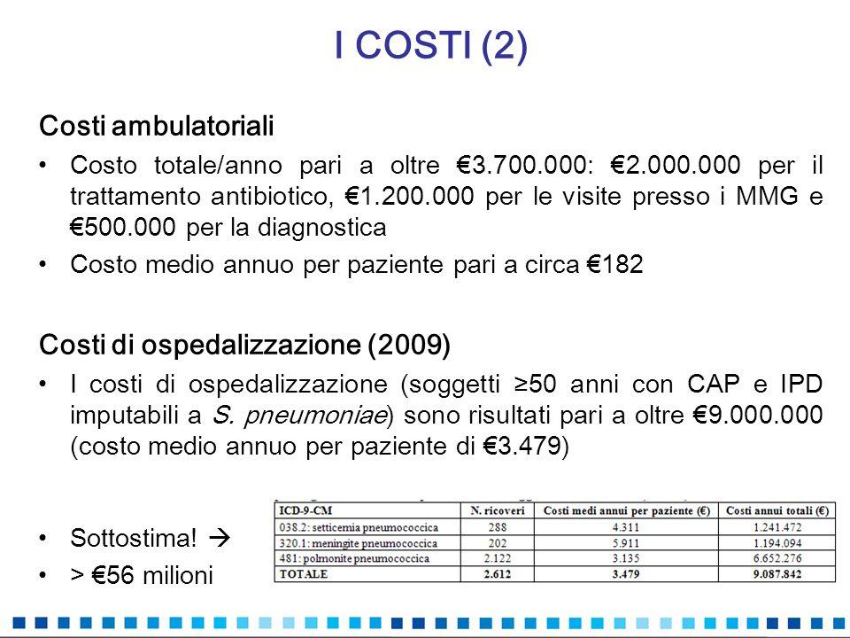 I COSTI (2) Costi ambulatoriali Costo totale/anno pari a oltre 3.700.000: 2.000.000 per il trattamento antibiotico, 1.200.000 per le visite presso i M