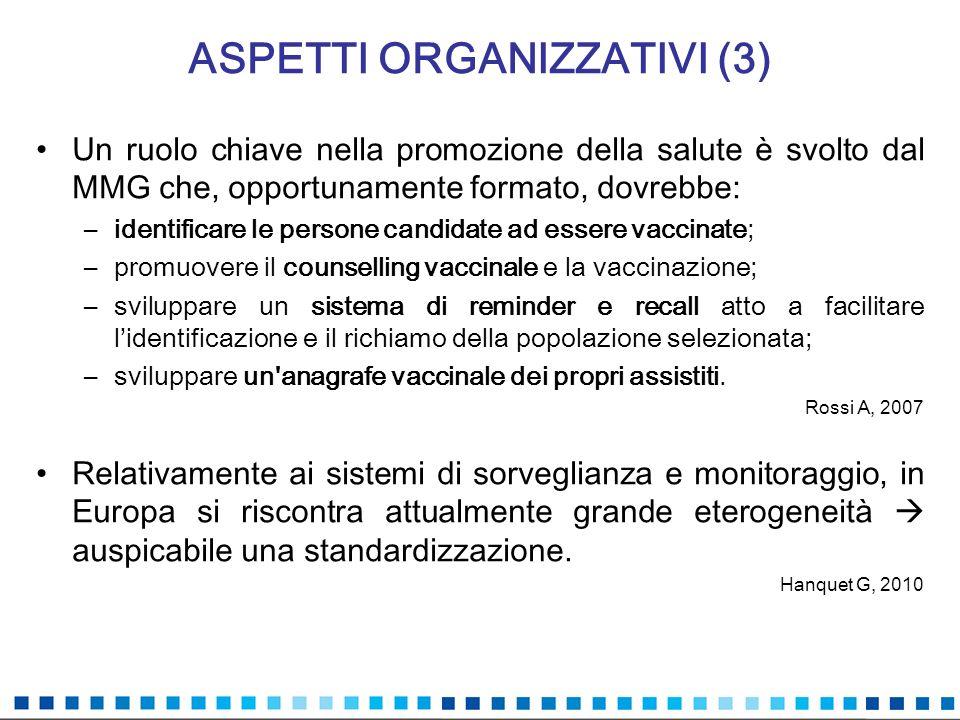 ASPETTI ORGANIZZATIVI (4) Necessità di corroborare il flusso informativo che consente il calcolo della copertura vaccinale.