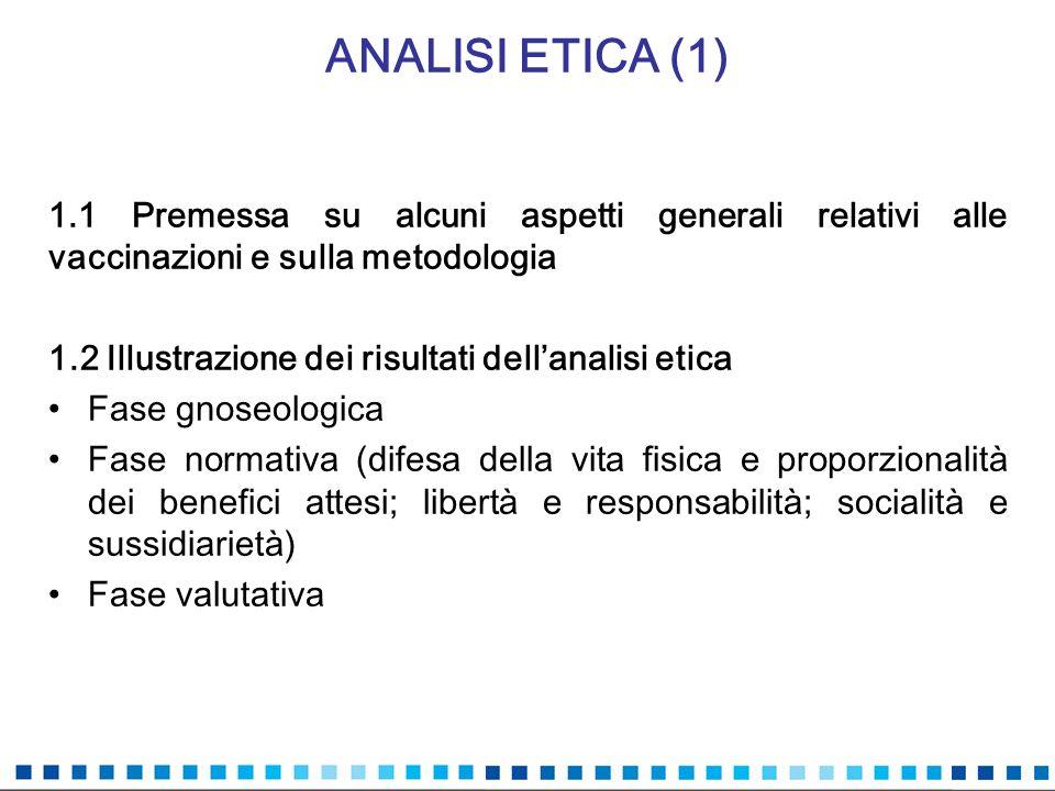 ANALISI ETICA (1) 1.1 Premessa su alcuni aspetti generali relativi alle vaccinazioni e sulla metodologia 1.2 Illustrazione dei risultati dellanalisi e