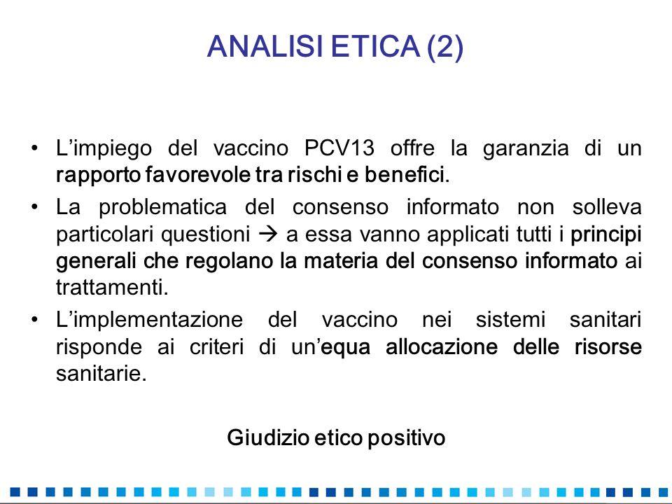 ANALISI ETICA (2) Limpiego del vaccino PCV13 offre la garanzia di un rapporto favorevole tra rischi e benefici. La problematica del consenso informato