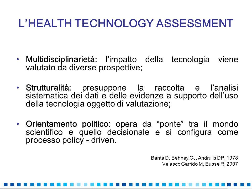 LHEALTH TECHNOLOGY ASSESSMENT Multidisciplinarietà: limpatto della tecnologia viene valutato da diverse prospettive; Strutturalità: presuppone la racc