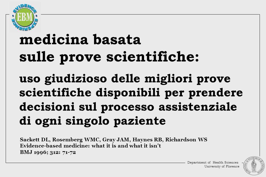 medicina basata sulle prove scientifiche: uso giudizioso delle migliori prove scientifiche disponibili per prendere decisioni sul processo assistenzia