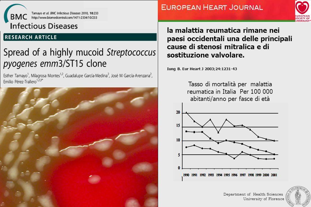 la malattia reumatica rimane nei paesi occidentali una delle principali cause di stenosi mitralica e di sostituzione valvolare. Iung B. Eur Heart J 20