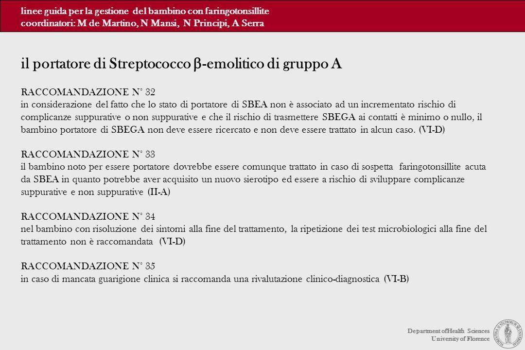 RACCOMANDAZIONE N° 32 in considerazione del fatto che lo stato di portatore di SBEA non è associato ad un incrementato rischio di complicanze suppurat