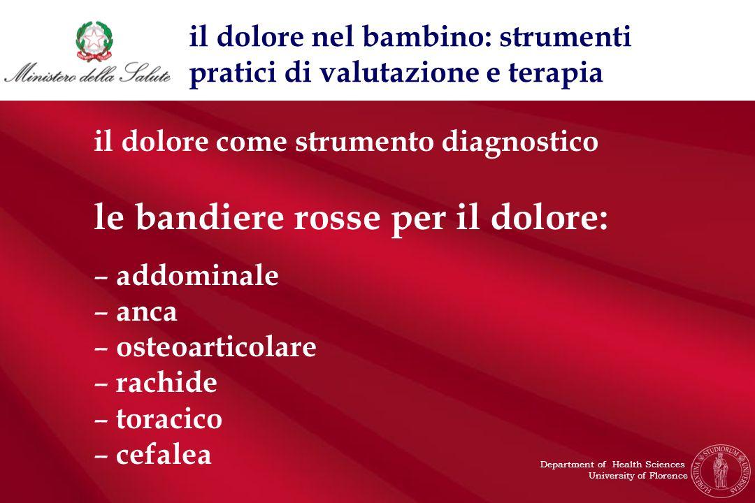 il dolore come strumento diagnostico le bandiere rosse per il dolore: – addominale – anca – osteoarticolare – rachide – toracico – cefalea il dolore n