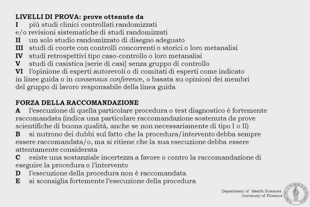LIVELLI DI PROVA: prove ottenute da I più studi clinici controllati randomizzati e/o revisioni sistematiche di studi randomizzati II un solo studio ra