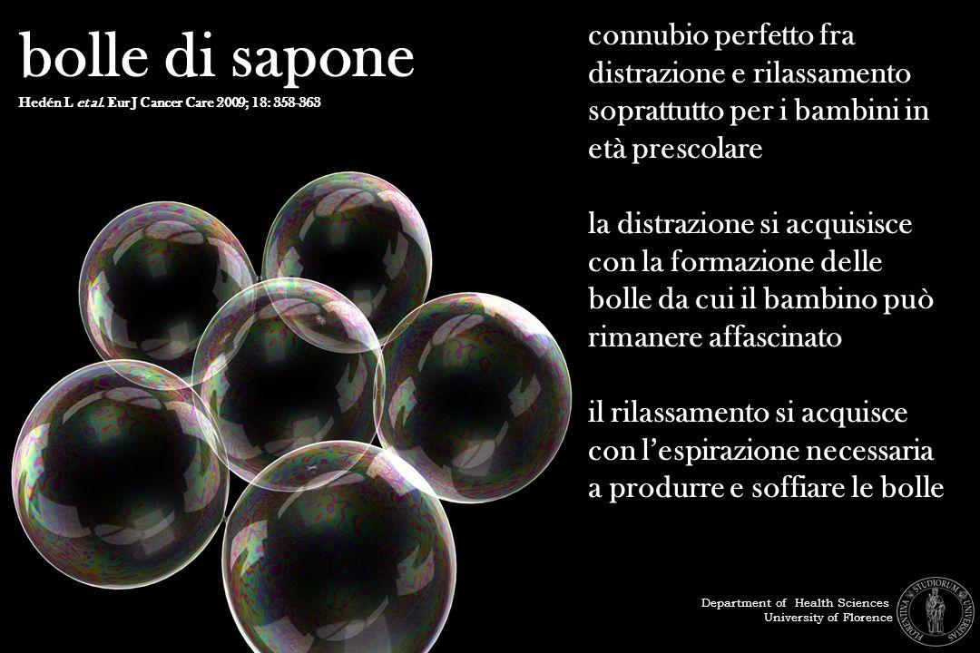 bolle di sapone Hedén L et al. Eur J Cancer Care 2009; 18: 358-363 connubio perfetto fra distrazione e rilassamento soprattutto per i bambini in età p