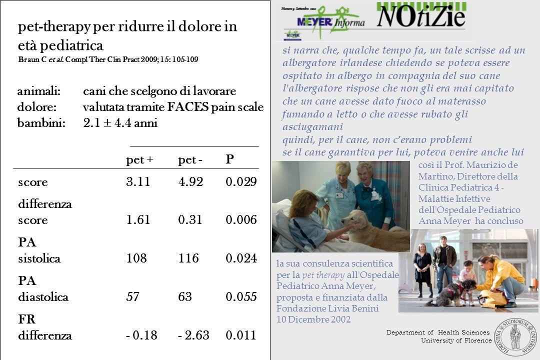 pet-therapy per ridurre il dolore in età pediatrica Braun C et al. Compl Ther Clin Pract 2009; 15: 105-109 animali:cani che scelgono di lavorare dolor