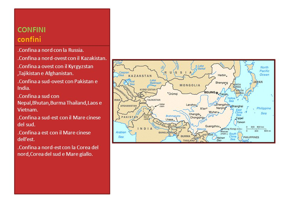 CONFINI confini.Confina a nord con la Russia..Confina a nord-ovest con il Kazakistan..Confina a ovest con il Kyrgyzstan,Tajikistan e Afghanistan..Conf