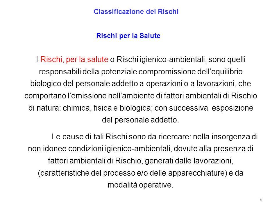 6 Classificazione dei Rischi Rischi per la Salute I Rischi, per la salute o Rischi igienico-ambientali, sono quelli responsabili della potenziale comp