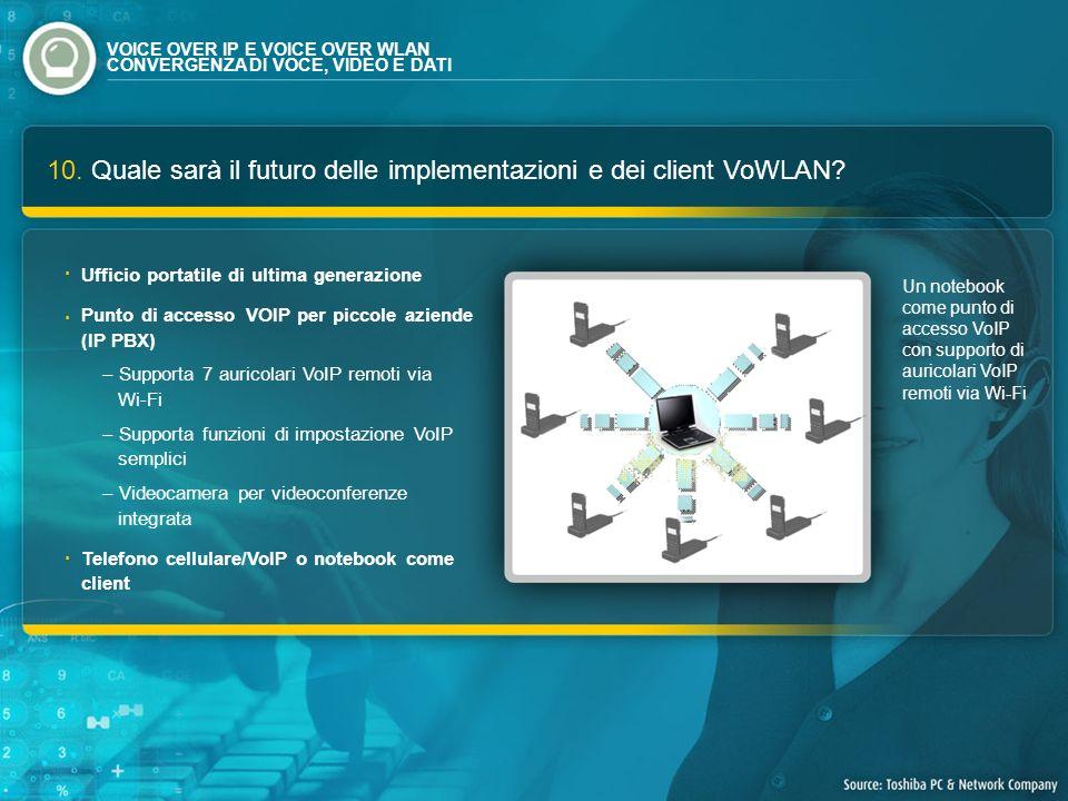 10. Quale sarà il futuro delle implementazioni e dei client VoWLAN? Un notebook come punto di accesso VoIP con supporto di auricolari VoIP remoti via